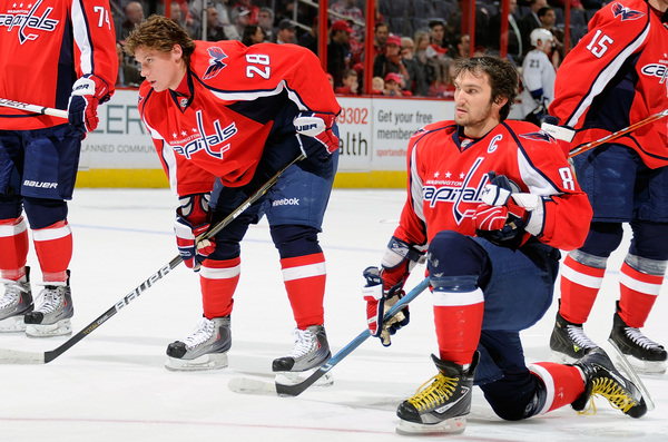 Alexander Semin and Alex Ovechkin of the Washington Capitals warm up before the game against the Tampa Bay Lightning  at the Verizon Center on November 26 2010 in Washington DC.