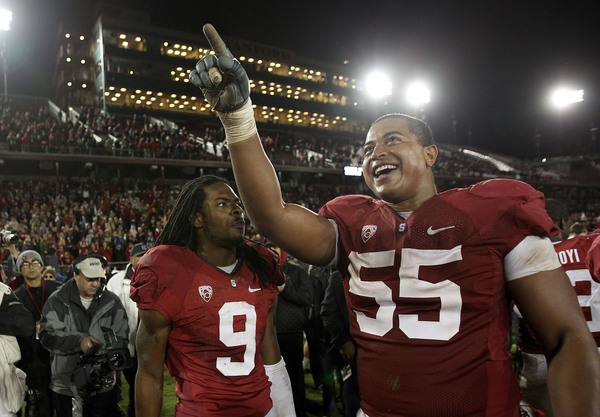 PALO ALTO CA - NOVEMBER 27:  Jonathan Martin #55 and Richard Sherman #9 of the Stanford Cardinal celebrate after they beat the Oregon State Beavers at Stanford Stadium on November 27 2010 in Palo Alto California.  (Photo by Ezra Shaw/Getty Images)