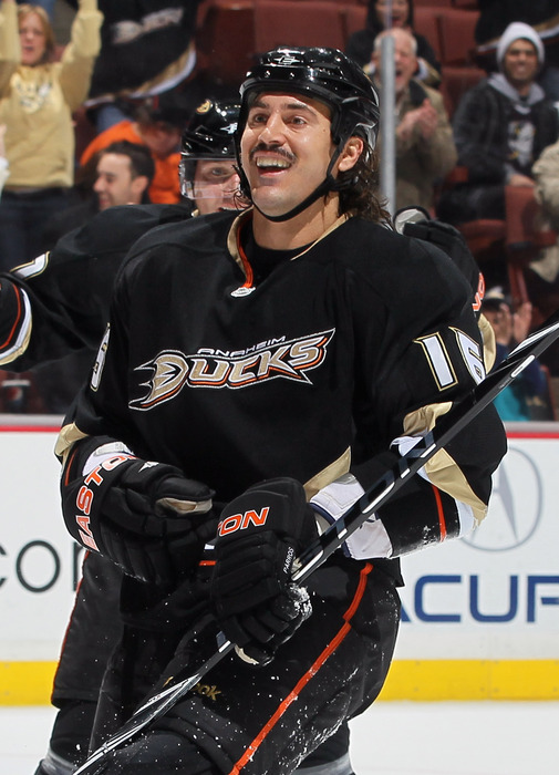 ANAHEIM CA - DECEMBER 01:  George Parros #16 of the Anaheim Ducks smiles after scoring a goal against the Florida Panthers during the first period at the Honda Center on December 1 2010 in Anaheim California.  (Photo by Jeff Gross/Getty Images)