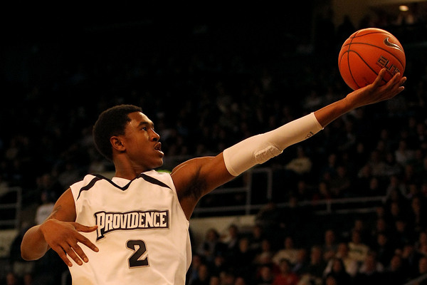 PROVIDENCE RI - DECEMBER 04:  Marshon Brooks #2 of the Providence Friars drives for a shot attempt against the Rhode Island Rams at the Dunkin' Donuts Center on December 4 2010 in Providence Rhode Island.  (Photo by Chris Chambers/Getty Images)