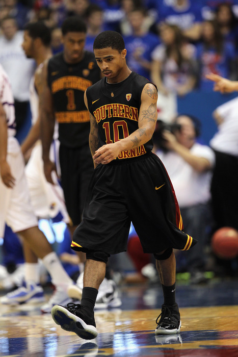 LAWRENCE KS - DECEMBER 18:  Maurice Jones #10 of the USC Trojans walks off the court during a timeout in the game against the Kansas Jayhawks on December 18 2010 at Allen Fieldhouse in Lawrence Kansas.  (Photo by Jamie Squire/Getty Images)