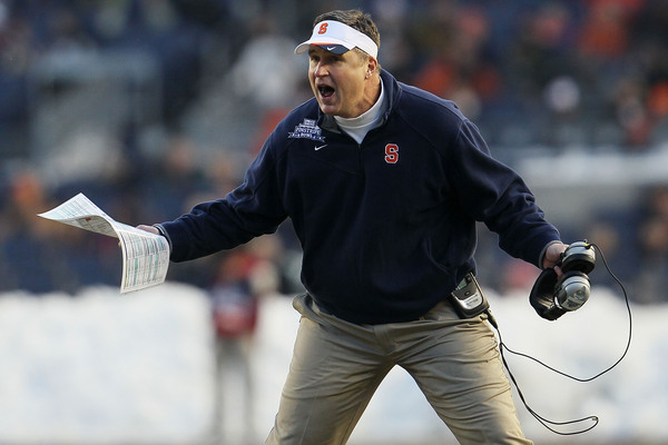 Syracuse Orange head coach <strong>Doug Marrone</strong> yells at the referee against the Kansas State Wildcats during the New Era Pinstripe Bowl at Yankee Stadium on December 30 2010 in New York New York.  (Photo by Chris McGrath/Getty Images)