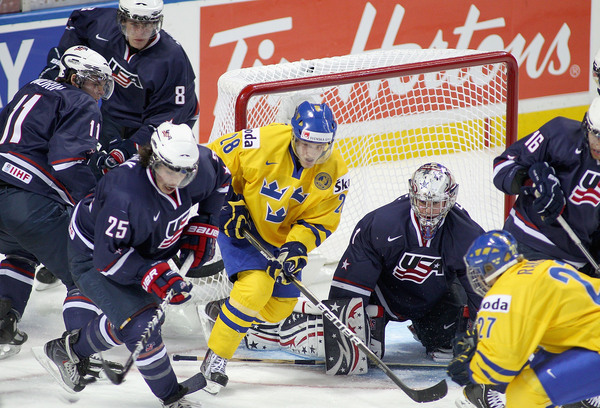 It's a must win situation for Jack Campbell and the Americans as they meet up against the Czechs.  Meanwhile, Sweden can advance to the medal round with a win today against Slovakia.  (Photo by Rick Stewart/Getty Images)