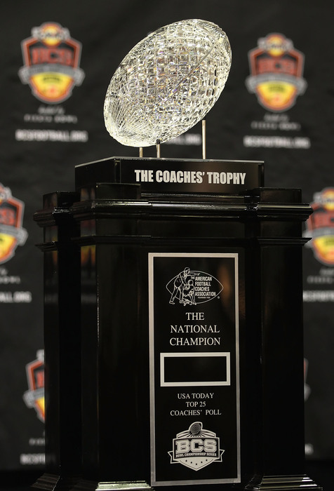 SCOTTSDALE AZ - JANUARY 07:  The coaches trophy is displayed during Media Day for the Tostitos BCS National Championship Game at the JW Marriott Camelback Inn on January 7 2011 in Scottsdale Arizona.  (Photo by Christian Petersen/Getty Images)