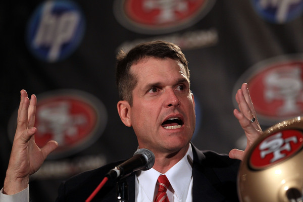 SAN FRANCISCO CA - JANUARY 07:  Jim Harbaugh explains to reporters why he hasn't had time to update his Twitter page since Nov. 23.