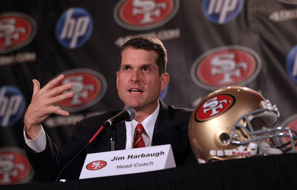 The San Francisco 49ers have a new head coach in Jim Harbaugh. Where will he use his first ever draft choice as an NFL head coach?  (Photo by Ezra Shaw/Getty Images)