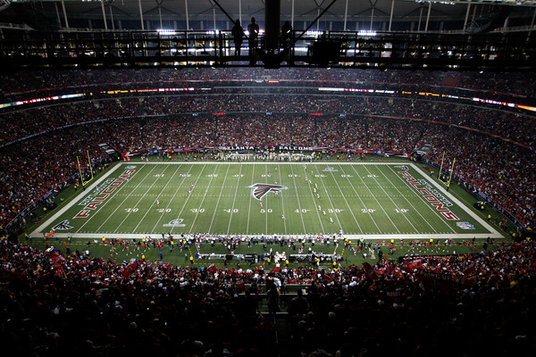 ATLANTA GA - JANUARY 15:  A general view of the opening kickoff by the Atlanta Falcons to the Green Bay Packers during their 2011 NFC divisional playoff game at Georgia Dome on January 15 2011 in Atlanta Georgia.  (Photo by Kevin C. Cox/Getty Images)