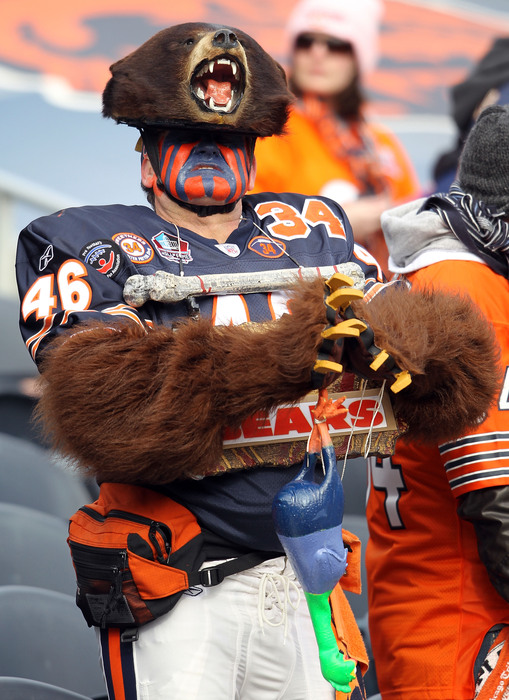 CHICAGO IL - JANUARY 16:  A Chicago Bears fan cheers before the Bears take on the Seattle Seahawks in the 2011 NFC divisional playoff game at Soldier Field on January 16 2011 in Chicago Illinois.  (Photo by Andy Lyons/Getty Images)