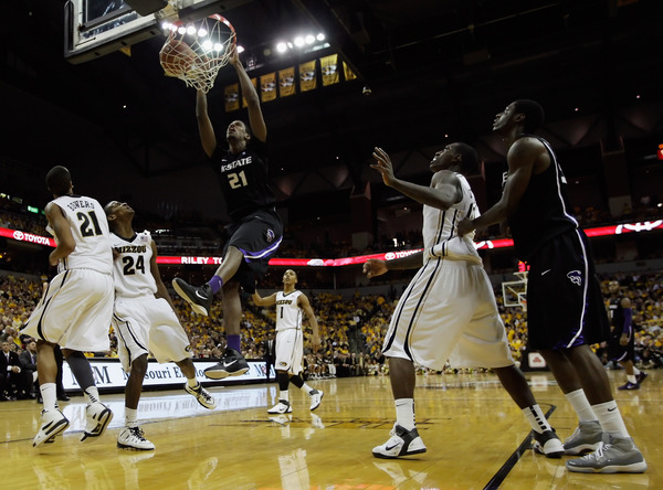 COLUMBIA MO - JANUARY 17:  Jordan Henriquez-Roberts #21 of the Kansas State Wildcats dunks during the game against the Missouri Tigers on January 17 2011 at Mizzou Arena in Columbia Missouri.  (Photo by Jamie Squire/Getty Images)