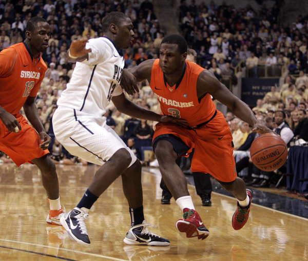 PITTSBURGH PA - JANUARY 17:  Dion Waiters #3 of the Syracuse Orange drives to the basket against the Pittsburgh Panthers at Petersen Events Center on January 17 2011 in Pittsburgh Pennsylvania.  (Photo by Justin K. Aller/Getty Images)