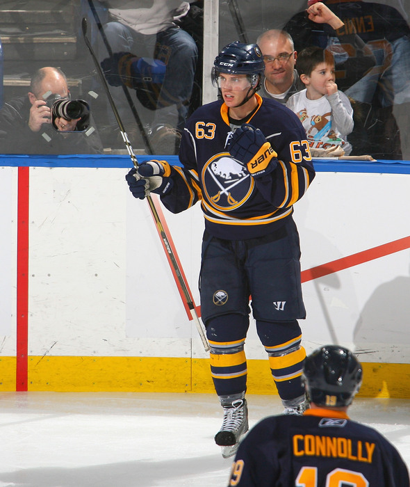 BUFFALO NY - JANUARY 18: Tyler Ennis #63 of the Buffalo Sabres reacts after scoring Buffalo's first goal against the Montreal Canadiens at HSBC Arena on January 18 2011 in Buffalo New York.  (Photo by Rick Stewart/Getty Images)