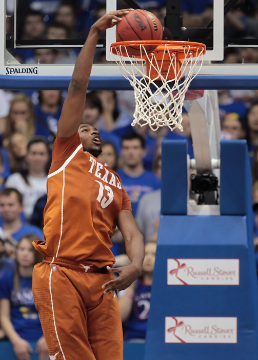 LAWRENCE KS - JANUARY 22:  Tristan Thompson #13 of the Texas Longhorns dunks against the Kansas Jayhawks during the game on January 22 2011 at Allen Fieldhouse in Lawrence Kansas.  (Photo by Jamie Squire/Getty Images)