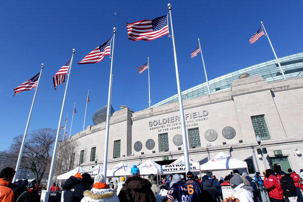 CHICAGO IL:  The exterior of Soldier Field before the NFC Championship Game between the Green Bay Packers and the Chicago Bears at Soldier Field in Chicago Illinois.  (Photo by Jamie Squire/Getty Images)