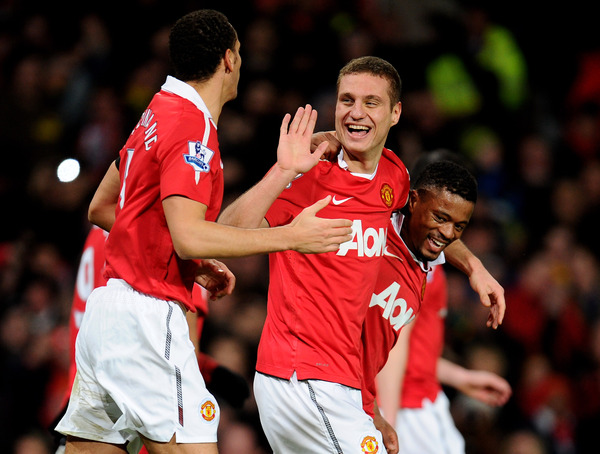 Rio Ferdinand, Nemanja Vidic, and Patrice Evra all captained their respective countries this past summer in South Africa at the FIFA World Cup. However, only Vidic remains skipper of his national team now. (Photo by Clive Mason/Getty Images)