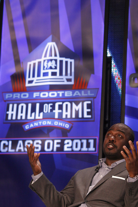 DALLAS TX - FEBRUARY 5: Marshall Faulk looks on after being named into the 2011 Pro Football Hall of Fame class during an announcement at the Super Bowl XLV media center on February 5 2011 in Dallas Texas. (Photo by Joe Robbins/Getty Images)
