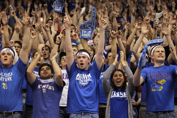 LAWRENCE KS - FEBRUARY 07:  Kansas Jayhawks fans cheer during player introductions prior to the game against the Missouri Tigers on February 7 2011 at Allen Fieldhouse in Lawrence Kansas.  (Photo by Jamie Squire/Getty Images)