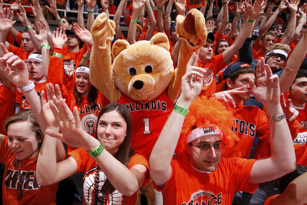 CHAMPAIGN IL - FEBRUARY 13: Illinois Fighting Illini fans cheer during the game against the Purdue Boilermakers at Assembly Hall on February 13 2011 in Champaign Illinois. Purdue defeated Illinois 81-70. (Photo by Joe Robbins/Getty Images)