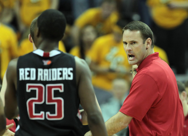 COLUMBIA MO - FEBRUARY 15:  Head coach Pat Knight of the Texas Tech Red Raiders yelss toward players during the game against the Missouri Tigers on February 15 2011 at Mizzou Arena in Columbia Missouri.  (Photo by Jamie Squire/Getty Images)