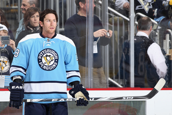PITTSBURGH PA - FEBRUARY 23:  James Neal #18 of the Pittsburgh Penguins warms up before the NHL game against the San Jose Sharks at Consol Energy Center on February 23 2011 in Pittsburgh Pennsylvania.  (Photo by Christian Petersen/Getty Images)