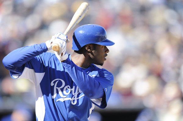 SURPISE, AZ - FEBRUARY 27: Lorenzo Cain #6 of the Kansas City Royals bats during a spring training game against the Texas Rangers at Surprise Stadium on February 27, 2011 in Surprise, Arizona. (Photo by Rob Tringali/Getty Images)