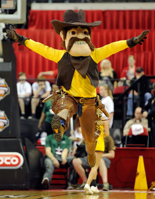 Pistol Pete will be ready to cheer the Cowgirls to victory Thursday night in the third round of the WNIT as they host the Colorado Lady Buffaloes.  (Photo by Ethan Miller/Getty Images)