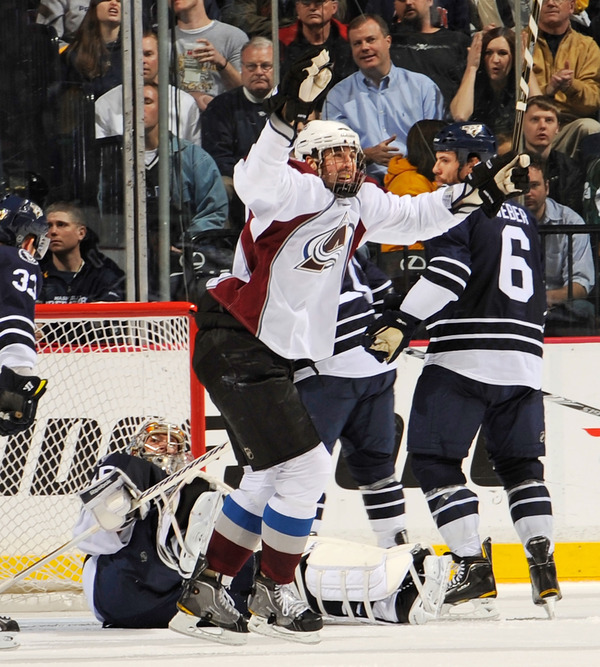 NASHVILLE, TN - MARCH 12:   Ryan O'Byrne #3 of the Colorado Avalanche celebrates after a goal against the Nashville Predators on March 12, 2011 at the Bridgestone Arena in Nashville, Tennessee.  (Photo by Frederick Breedon/Getty Images)