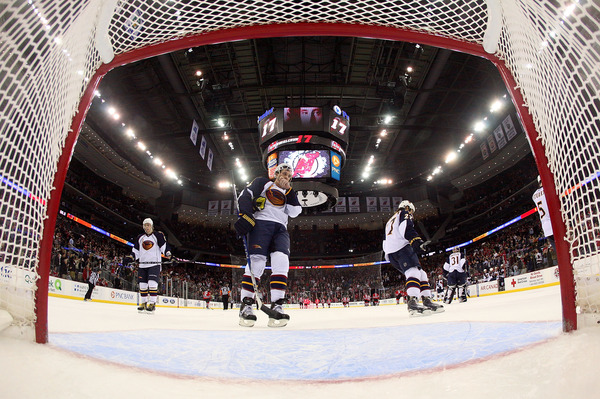 NEWARK, NJ - MARCH 15: The Atlanta Thrashers leave the ice following a 4-2 defeat by the New Jersey Devils at the Prudential Center on March 15, 2011 in Newark, New Jersey.  (Photo by Bruce Bennett/Getty Images)
