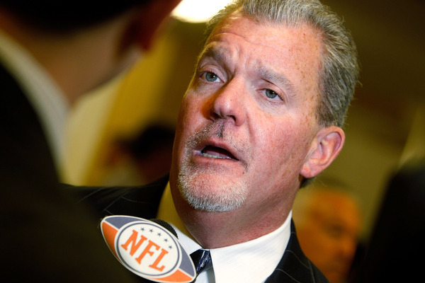 Jim Irsay's commitment to success could ultimately come in the form of a new head coach in Indianapolis.  (Photo by Sean Gardner/Getty Images)