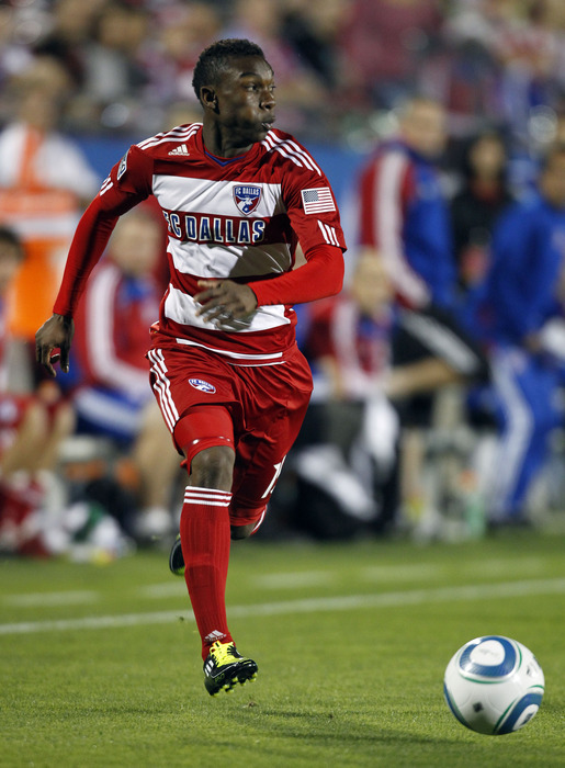 FRISCO, TX - MARCH 26: Fabian Castillo #15 of of FC Dallas dribbles against the San Jose Earthquakes at Pizza Hut Park on March 26, 2011 in Frisco, Texas. (Photo by Layne Murdoch/Getty Images)