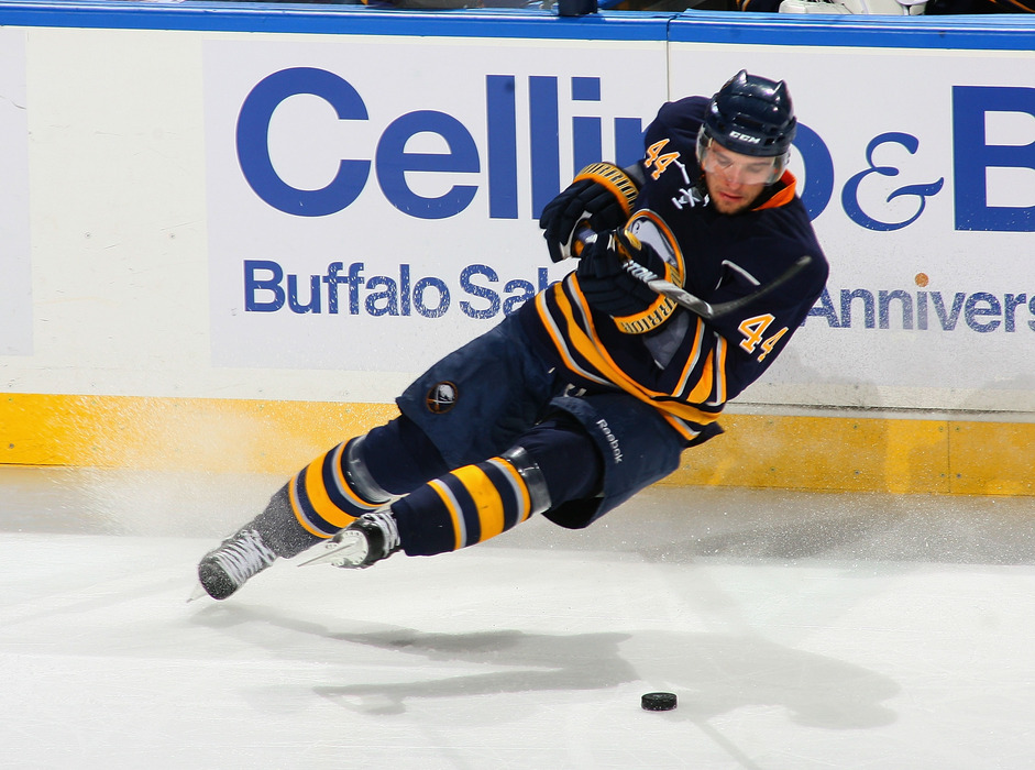 BUFFALO, NY - MARCH 30: Andrej Sekera #44 of the Buffalo Sabres loses an edge an falls to the ice against the New York Rangers at HSBC Arena on March 30, 2011 in Buffalo, New York.  (Photo by Rick Stewart/Getty Images)