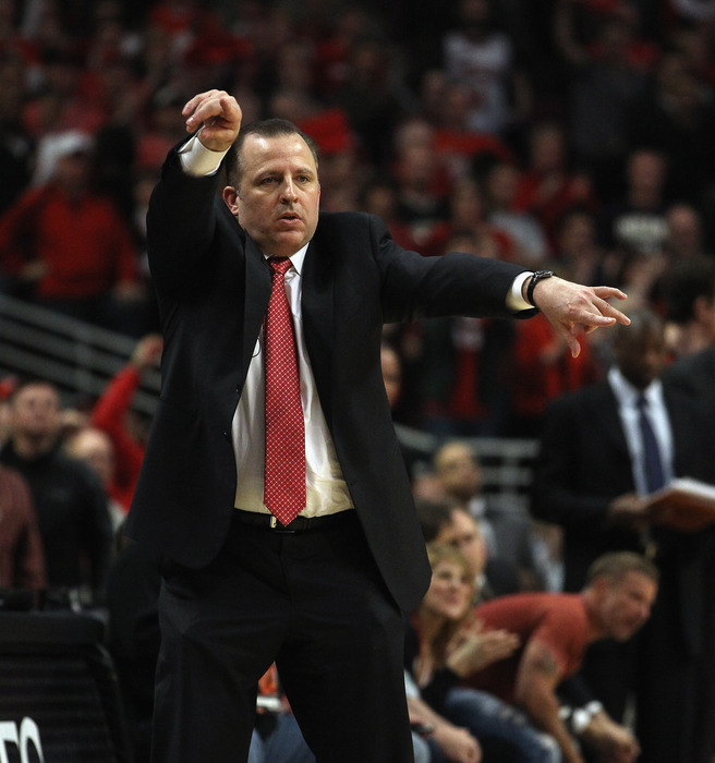 Chicago Bulls head coach Tom Thibodeau gets down and gets funky at the United Center during the 2011 NBA Playoffs. (Photo by Jonathan Daniel/Getty Images)