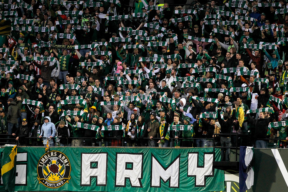 PORTLAND, OR - MAY 06:  Members of the Timbers Army cheer during the game between the Portland Timbers and the Philadelphia Union  on May 6, 2011 at Jeld-Wen Field in Portland, Oregon.  (Photo by Jonathan Ferrey/Getty Images)