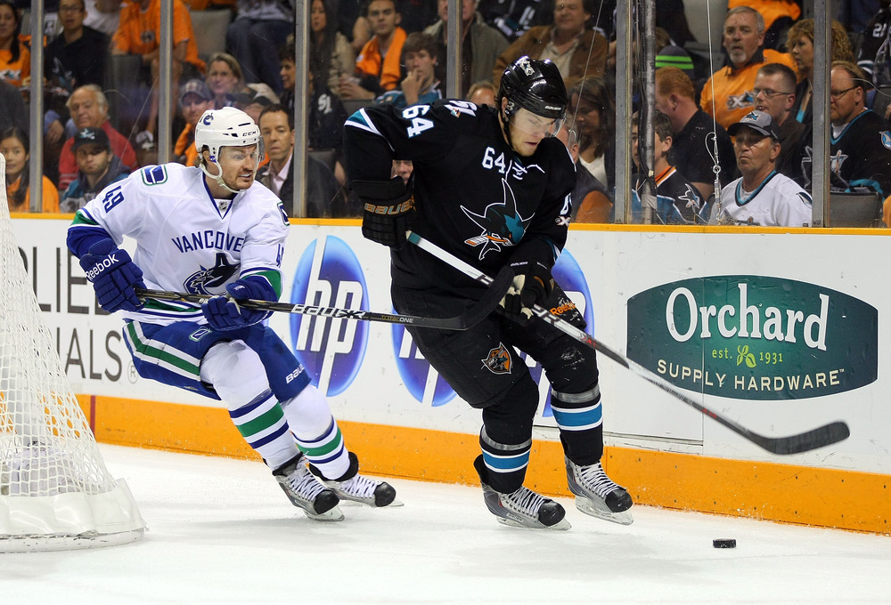 <em>Coming into camp Jamie McGinn was a favorite to play on the third line for San Jose; now, he might be starting his season on the bench.</em>