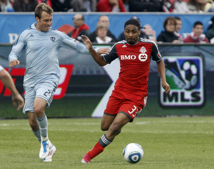 The Montreal Impact selected Sporting KC full back Michael Harrington in SB Nation's Mock expansion draft. (Photo by Abelimages/Getty Images)