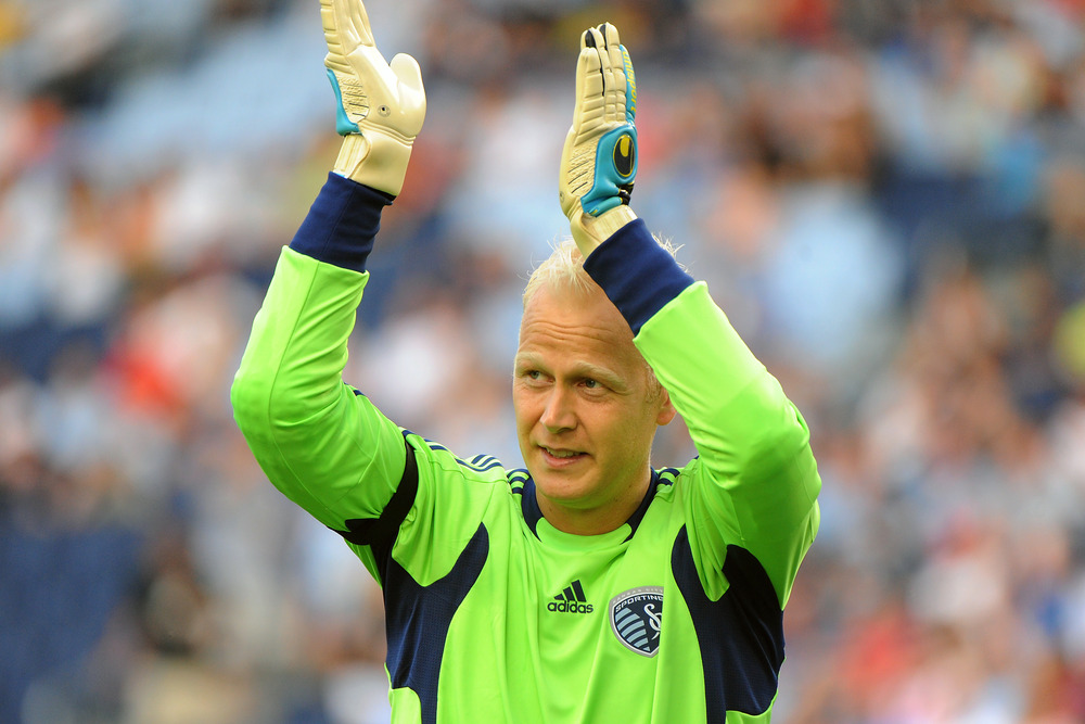 Sporting KC goalkeeper Jimmy Nielsen was awarded his fourth MLS Save of the Week in 2011.  (Photo by G. Newman Lowrance/Getty Images)
