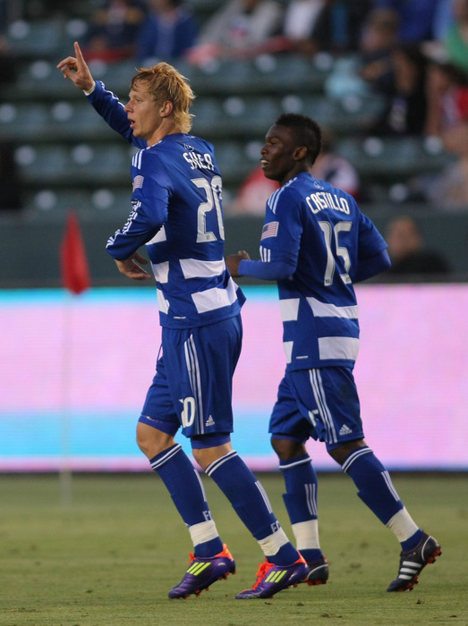 CARSON, CA - JUNE 18:  Brek Shea #20 of FC Dallas celebrates his first half goal against Chivas USA during their MLS match at The Home Depot Center on June 18, 2011 in Carson, California.  (Photo by Victor Decolongon/Getty Images)