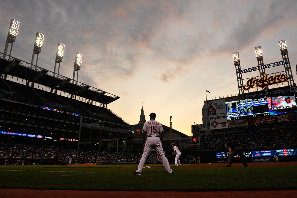 CLEVELAND, OH - JUNE 20:  The Colorado Rockies play the Cleveland Indians at Progressive Field as the sun sets on June 20, 2011 in Cleveland, Ohio.  (Photo by Jamie Sabau/Getty Images)