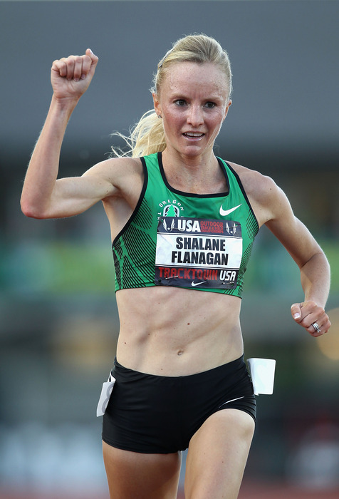 EUGENE, OR - JUNE 23:  Shalane Flanagan reacts after winning the Women's 10,000 meter run on day one of the USA Outdoor Track & Field Championships at the Hayward Field on June 23, 2011 in Eugene, Oregon.  (Photo by Christian Petersen/Getty Images)