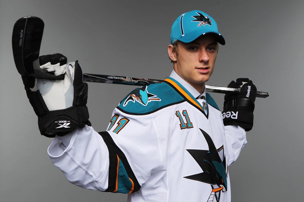 ST PAUL, MN - JUNE 25:  133rd overall pick Sean Kuraly by the San Jose Sharks poses for a portrait during day two of the 2011 NHL Entry Draft at Xcel Energy Center on June 25, 2011 in St Paul, Minnesota.  (Photo by Nick Laham/Getty Images)