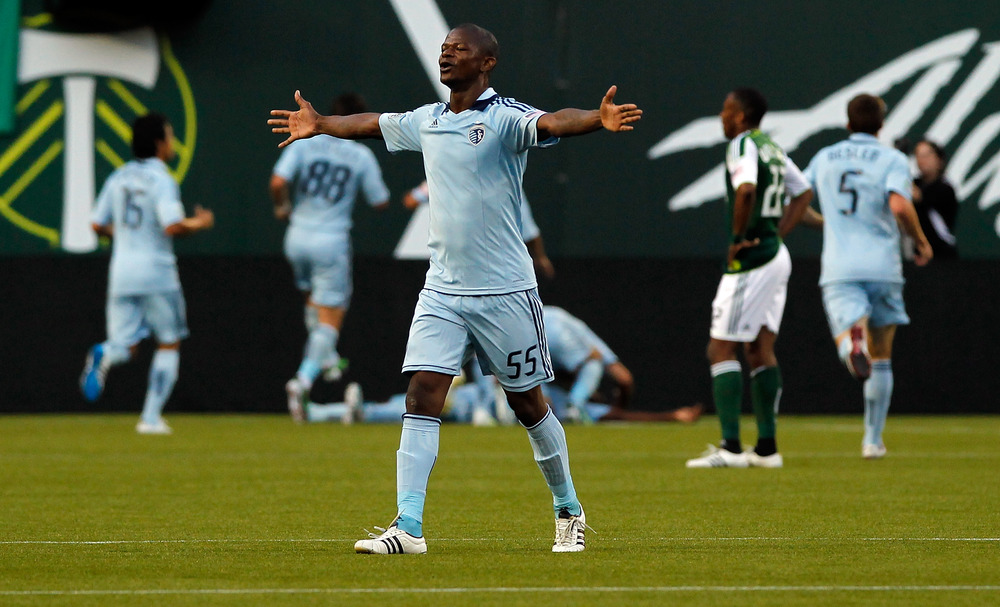 PORTLAND, OR - JULY 02:  Julio Cesar #55 of Sporting Kansas City celebrates C.J Sapong's goal against the Portland Timbers on July 2, 2011 at Jeld-Wen Field in Portland, Oregon.  (Photo by Jonathan Ferrey/Getty Images)