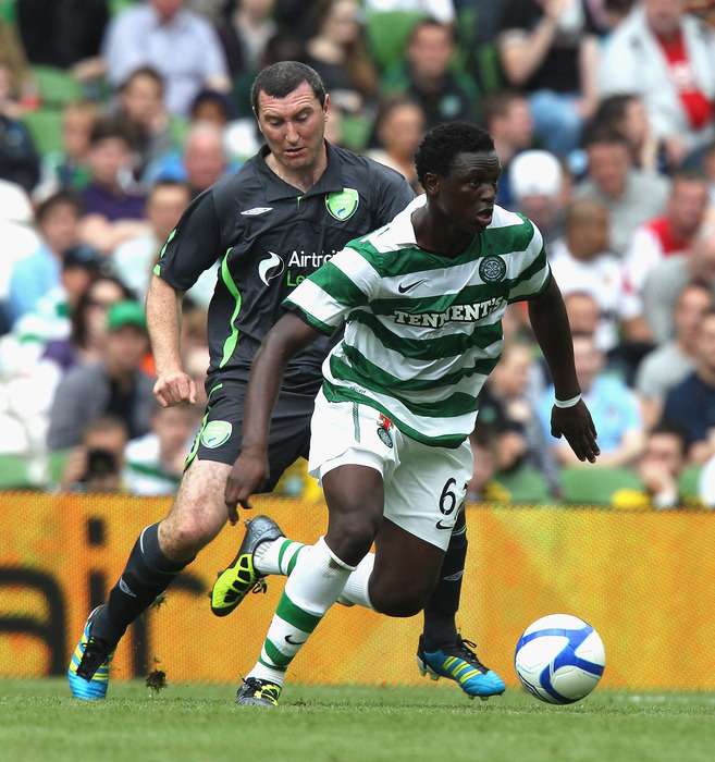 DUBLIN, IRELAND - JULY 31: Victor Wanyama of Celtic moves away with the ball during the Dublin Super Cup match between Celtic and Airtricity XI at the Aviva Stadium on July 31, 2011 in Dublin, Ireland.  (Photo by David Rogers/Getty Images)