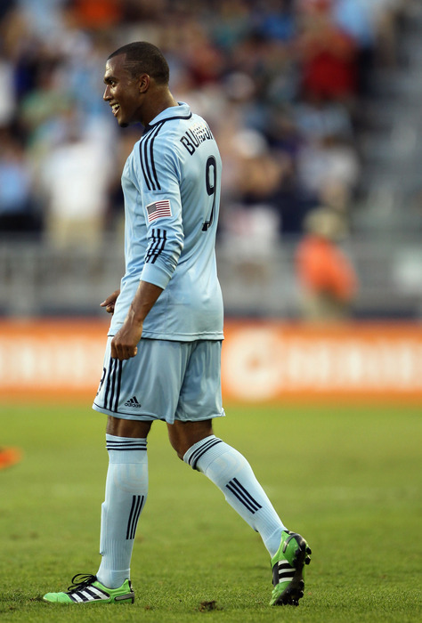 Sporting Kansas City forward Teal Bunbury has a reason to smile. Bunbury was called up to the USMNT U-23 team yesterday.(Photo by Jamie Squire/Getty Images)