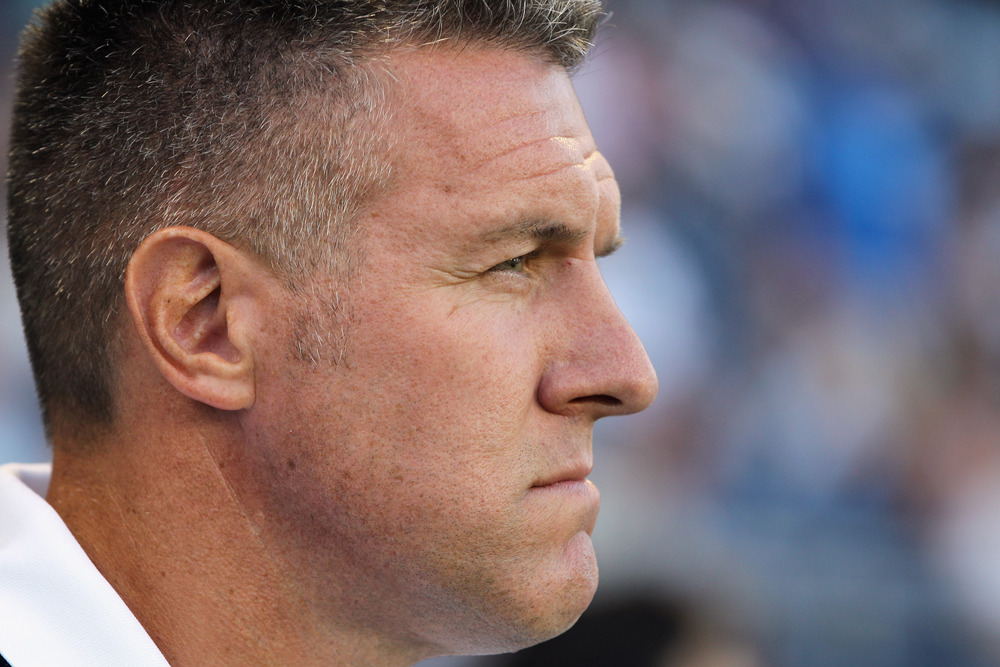 KANSAS CITY, KS - AUGUST 03:  Manager Peter Vermes of Sporting Kansas City looks on during the game against Real Salt Lake on August 3, 2011 at LiveStrong Sporting Park in Kansas City, Kansas.  (Photo by Jamie Squire/Getty Images)