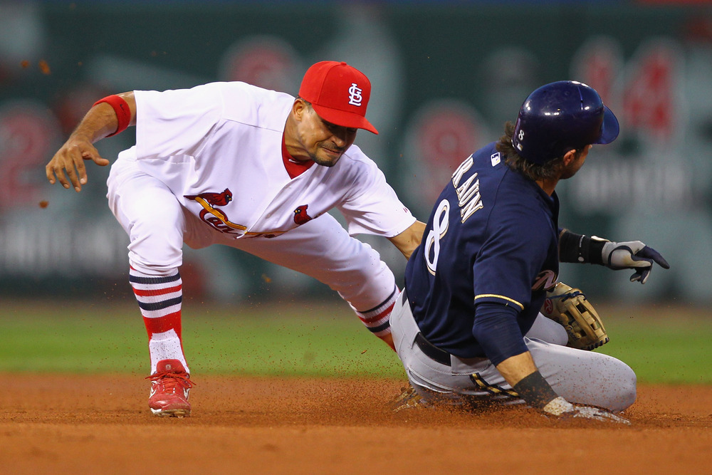 Here's Ryan Braun stealing second base against the Cardinals in a game in August. Will Prince Fielder's likely departure lead to Braun getting more opportunities to run?