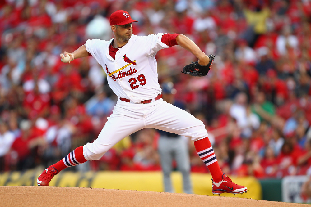 ST. LOUIS, MO - AUGUST 11: Starter Chris Carpenter #29 of the St. Louis Cardinals pitches against the Milwaukee Brewers at Busch Stadium on August 11, 2011 in St. Louis, Missouri.  (Photo by Dilip Vishwanat/Getty Images)