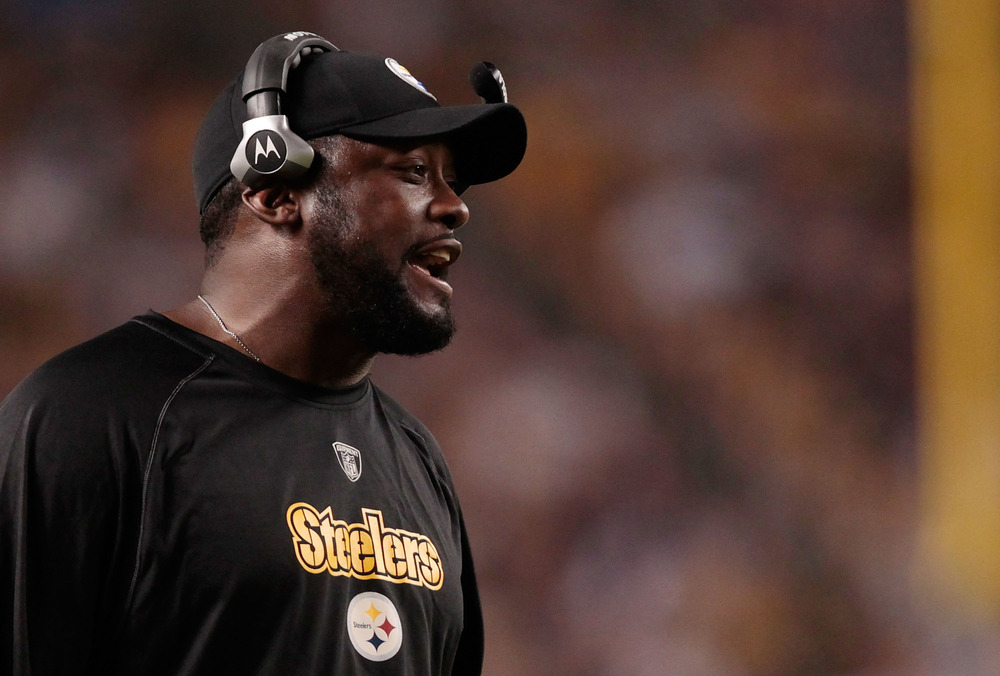 PITTSBURGH - AUGUST 18:  'That is what is above you' head coach Mike Tomlin said to his team as they overwhelemed  (Photo by Jared Wickerham/Getty Images)