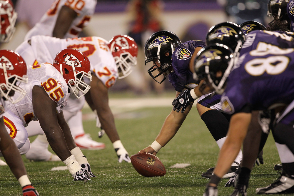 BALTIMORE, MD - AUGUST 19: The Kansas City Chiefs defense lines up against the Baltimore Ravens offense during the first half of a preseason game at M&T Bank Stadium on August 19, 2011 in Baltimore, Maryland.  (Photo by Rob Carr/Getty Images)