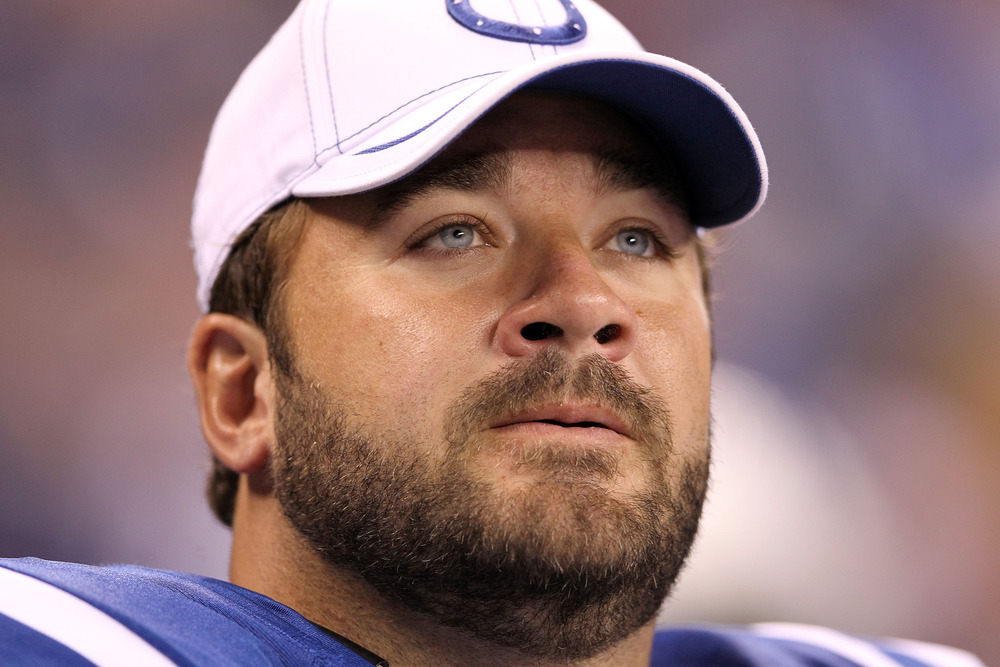 INDIANAPOLIS, IN - AUGUST 19:  Jeff Saturday #63 of the Indianapolis Colts watches the action during the game against the Washington Redskins at Lucas Oil Stadium on August 19, 2011 in Indianapolis, Indiana.  (Photo by Andy Lyons/Getty Images)