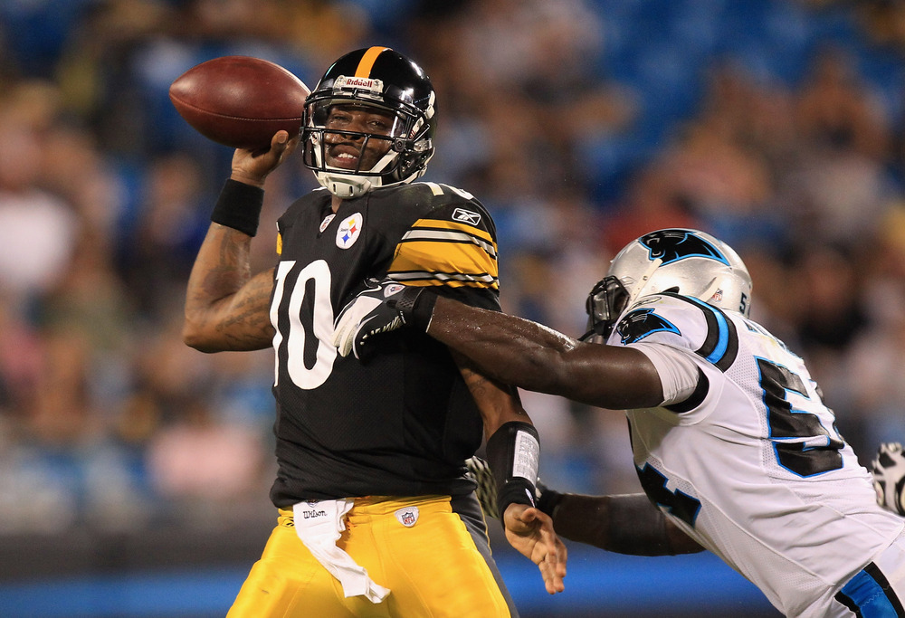 CHARLOTTE, NC - SEPTEMBER 01:  Jeff George isn't actually meeting with the Steelers today, but it'd be funny if he was.  (Photo by Streeter Lecka/Getty Images)
