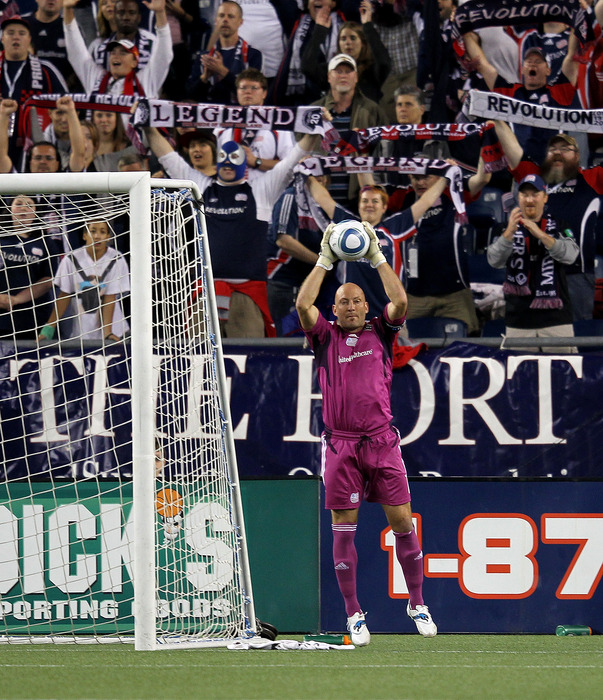 FOXBORO, MA - SEPTEMBER 10:  Matt Reis #1 of the New England Revolution makes a final save of the game  for a 2-0 win against the FC Dallas at Gillette Stadium on September 10, 2011 in Foxboro, Massachusetts. (Photo by Jim Rogash/Getty Images)
